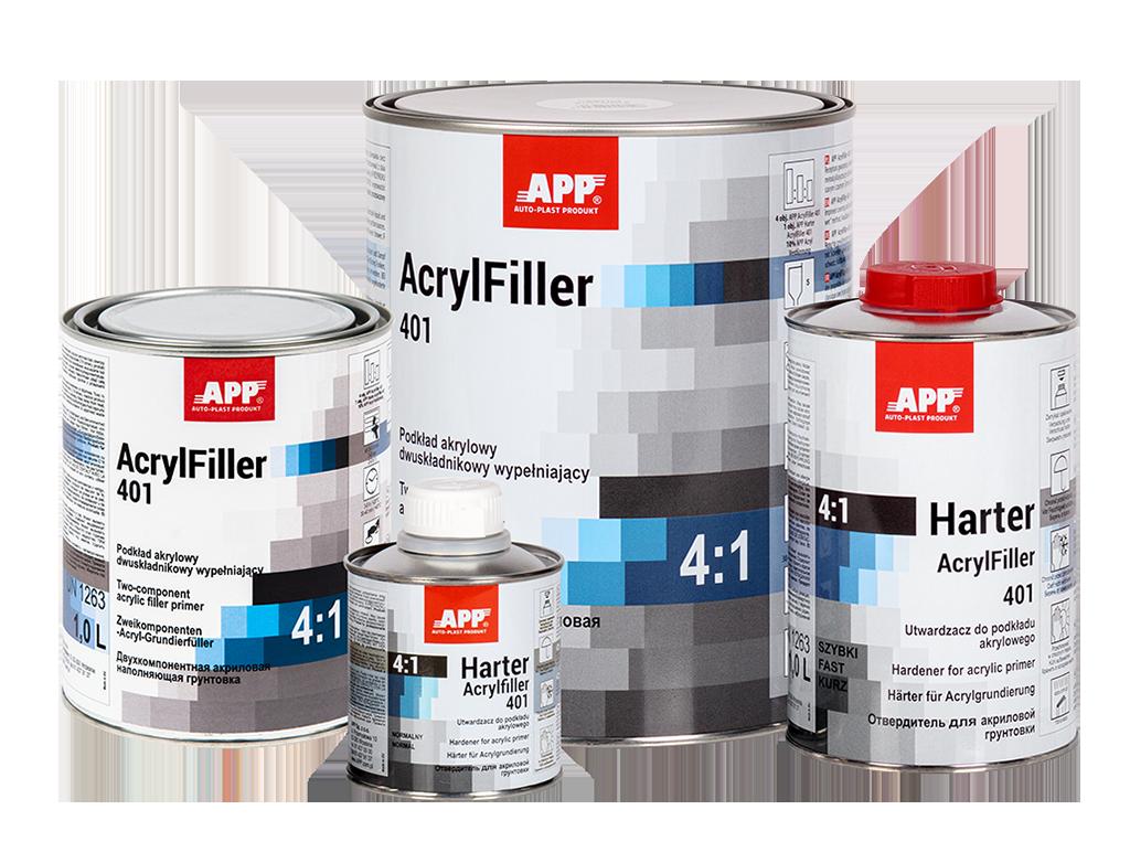 APP 2K HS Acrylfiller 4:1 + Harter Podkład akrylowy dwuskładnikowy wypełniający + utwardzacz