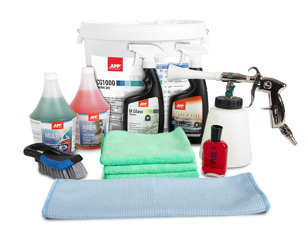 APP CG1000 BUCKET SET Set of preparations for cleaning the interior of vehicles with a pneumatic cleaning gun