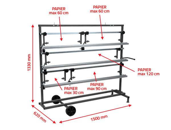 NTools SPM 5 Stojak poziomy dla 5 rolek papieru do maskowania od 30cm do 120cm