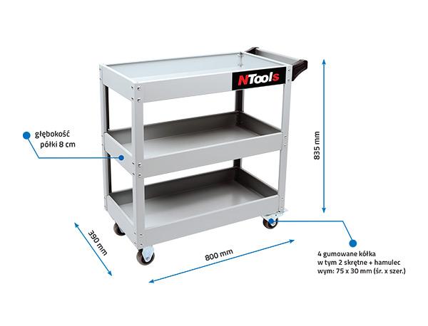NTools 3S Wózek warsztatowy trzypółkowy