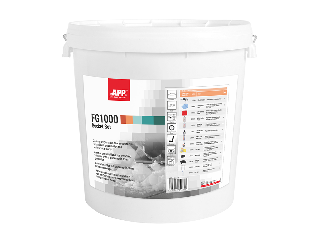 APP FG1000 BUCKET SET Set of car cosmetics for cleaning vehicles with pneumatic foam gun