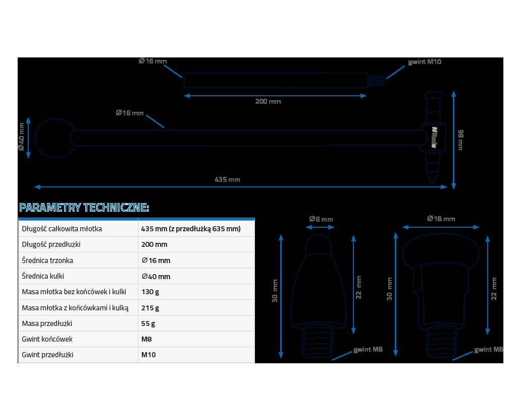 NTools PDR Carbon Hammer Młotek do blendowania z wymiennymi końcówkami i przedłużką